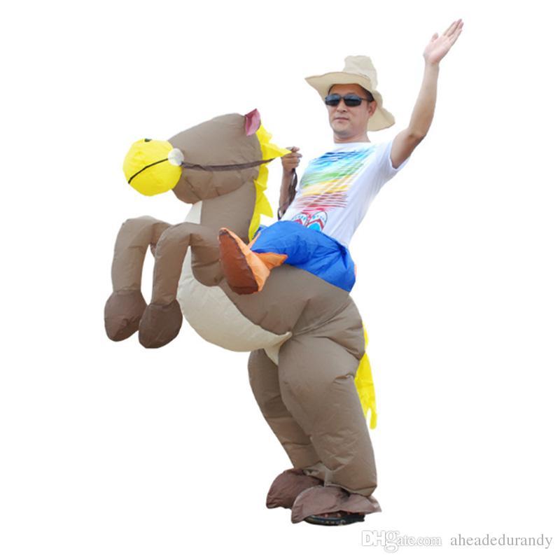 Aufblasbares cowboy Dinosaurierkostüm Reiten Sie auf Pferd Fantastische Partykleid Halloween-Kostüme für Frauen