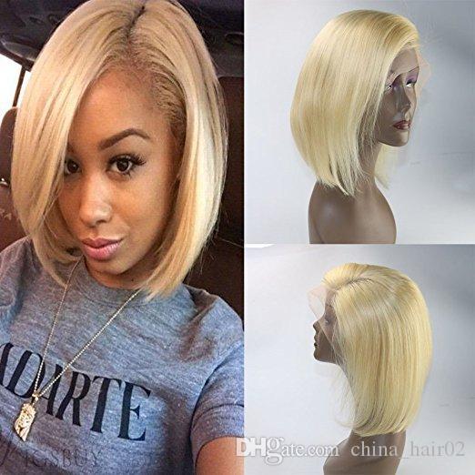 613 Blonde Brazilian Virgin Human Hair Short Bob Wigs Silky Straight