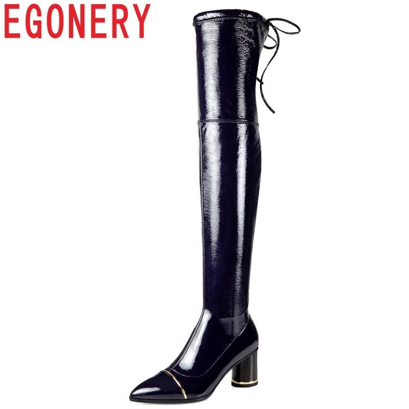 7846e8c2d67 EGONERY size 34-42 women shoes new fashion sexy pointed toe patent leather  high strange style zip winter warm over knee boots