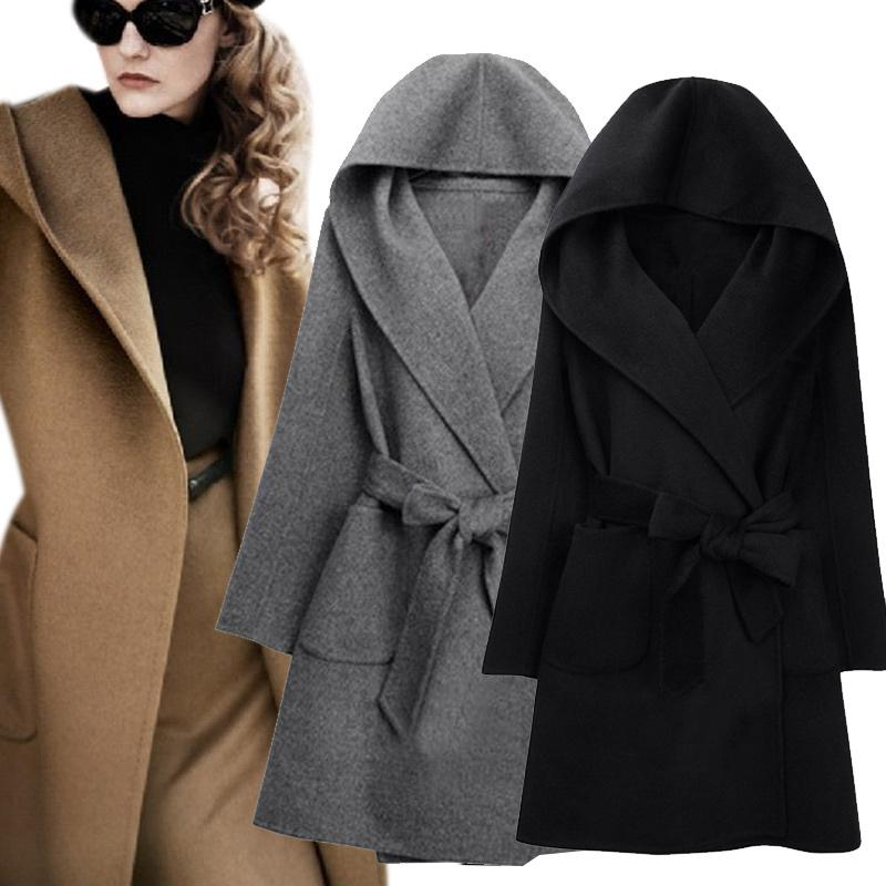 b7ba427b8e48 2019 2016 New Winter Women Wool Coat Long Sleeve Two Sides Wear Belted  Loose Warm Woolen Jacket Hooded Outerwear H9 From Edmund02, $31.13 |  DHgate.Com