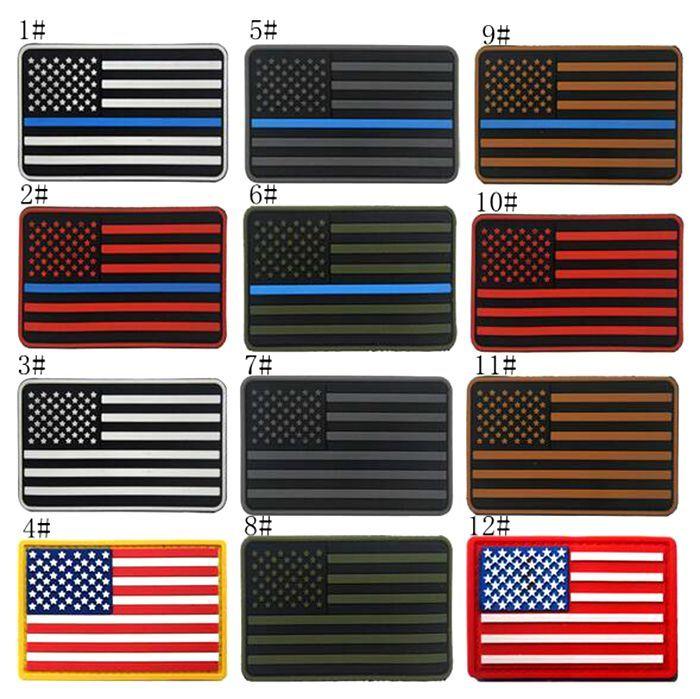 18VP-7 venta caliente PVC EE. UU. BANDERA parches tácticos con palo mágico brazalete de goma del ejército parche para la chaqueta / tapa accesorios