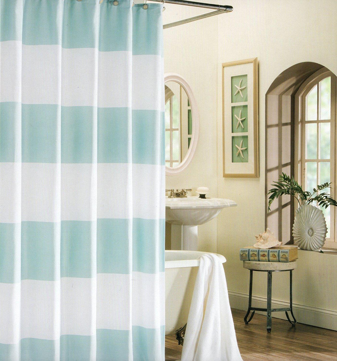 2018 Memory Home 100 Polyester Shower Curtain Wide Stripes Fabric Turquoise Navy Blue Beige Turquoise66x72inch From Sophine11
