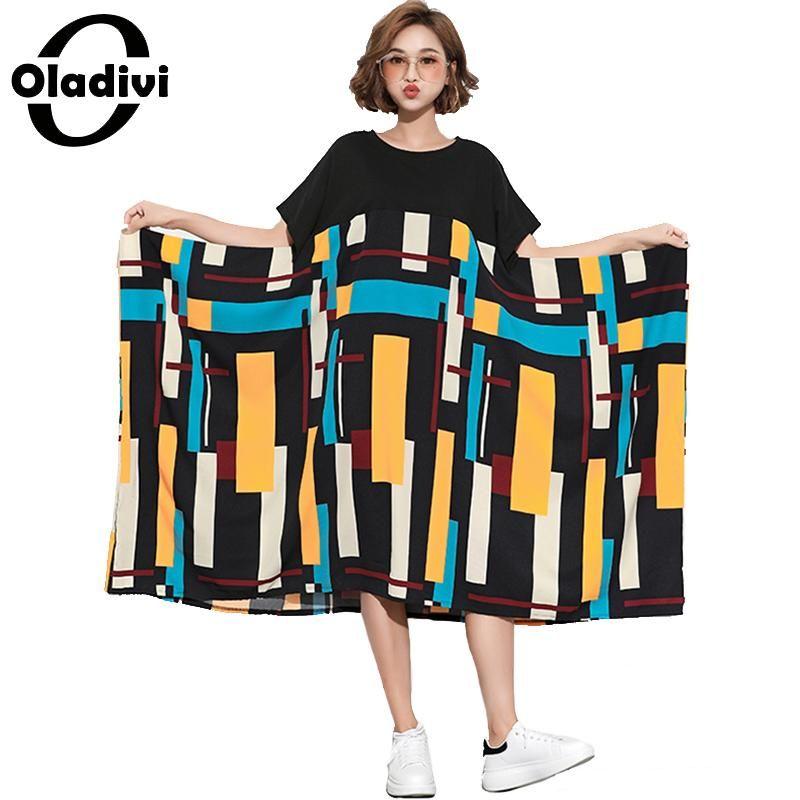 34ddd9149eb Oladivi Brand Plus Size Women Striped Print Patchwork Dress Lady ...