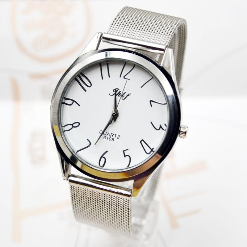 Foreign trade simple fashion digital alloy mesh belt watch men and women lovers quartz watch wholesale manufacturers