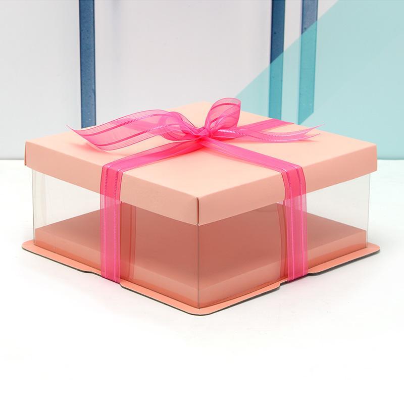 5pcs regalo della torta della festa di compleanno borse del regalo di gaine Contenitore di torta di alta qualità Contenitore di regalo trasparente semplice 4-12inches grande contenitore di torta di formato trasporto libero