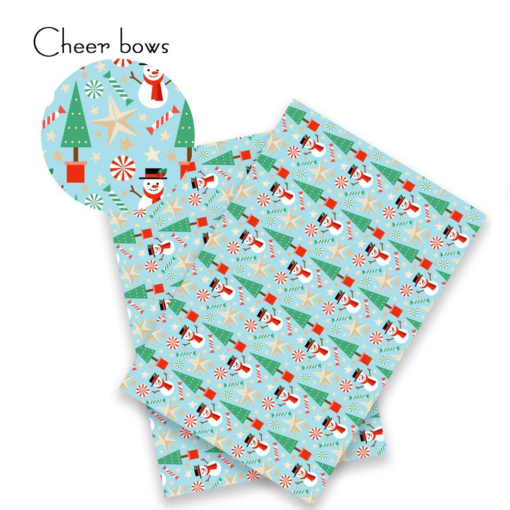 22*30CM Merry Christmas Synthetic Leather Fabric Snowman Printed Leather Sheet DIY Hairbow Patchwork Sewing Fabric For Wholesale