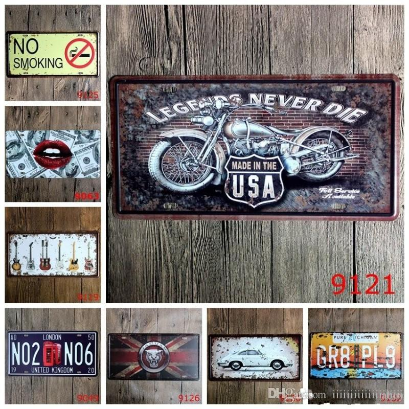 No Smoking Guitar Legends Car Metal License Plate Vintage Home Decor Tin Sign Bar Pub Cafe Garage Decorative Metal Sign Art Painting Plaque