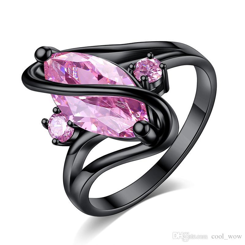 Noir Cristal Pour Avec Femmes Bijoux Anneaux Fiançailles Diamant De Saphir Amoureux Argent Mariage Bague ZPOikXu
