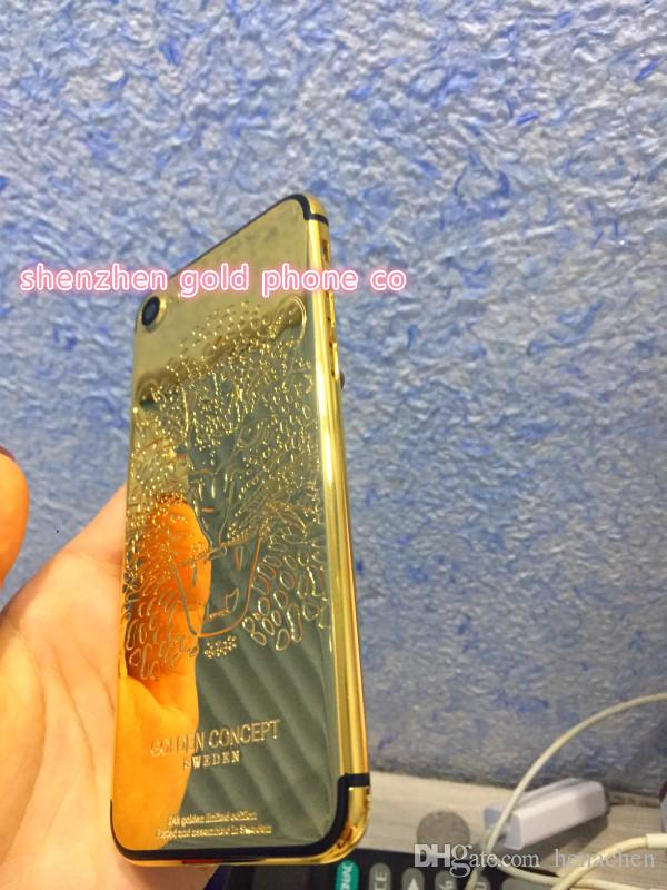 Real Gold lion leopard Plating Back Housing Cover Skin For Iphone 7 7plus Back Housing Cover Frame Aluminum 24ct 24k gold plated