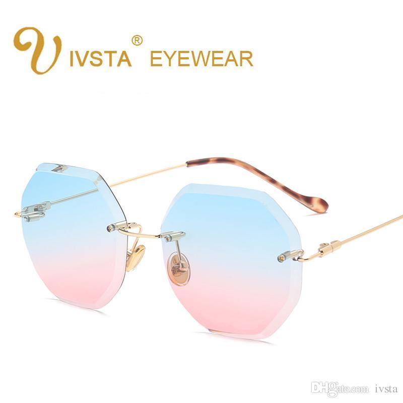 ef4a8fc57c Compre 2018 Lujo Sin Montura Gafas De Sol Mujeres Diseñador De La Marca De  Gran Tamaño Gafas De Sol De Corte De Diamante Femenino Gafas Para Dama A  $4.88 ...