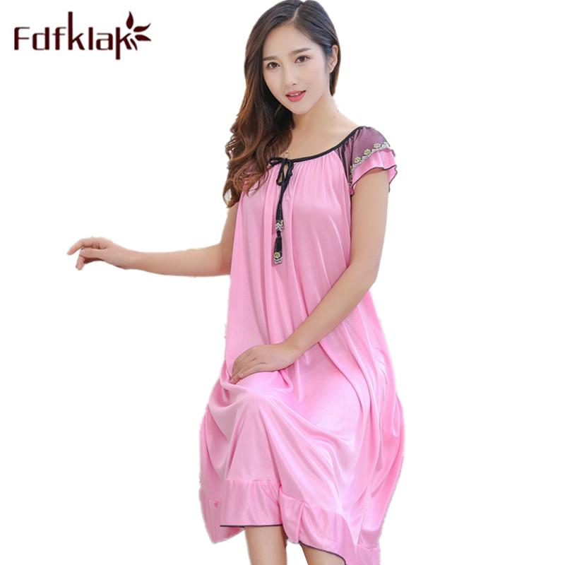 Fdfklak Silk Mother For Pregnant Women Nursing Sleepwear Nightgown ...