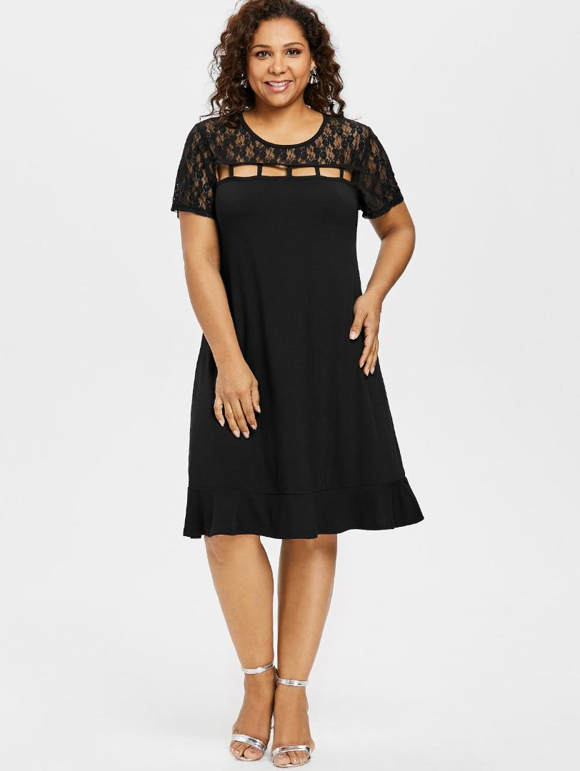 5XL Plus Size Lace Panel Ladder Front Cut Out Dress Short Sleeve ...
