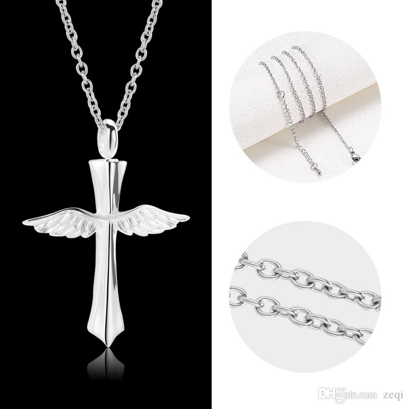New angle wings cross cremation memorial ashes urn keepsake stainless steel pendant necklace jewelry for men or women