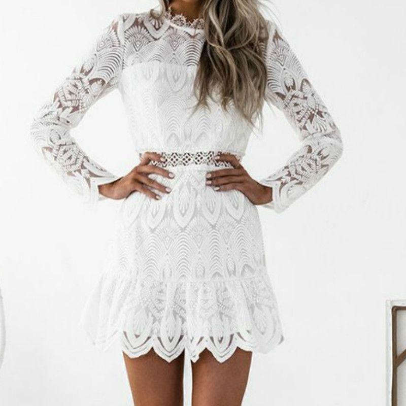 2018 Sexy Bandage Dress Women Vintage White Black Lace Long Sleeve Mini Bodycon  Dress Tunic See Through Party Dresses Vestidos Golden Party Dress Ladies ... eed0d7e7a0d9