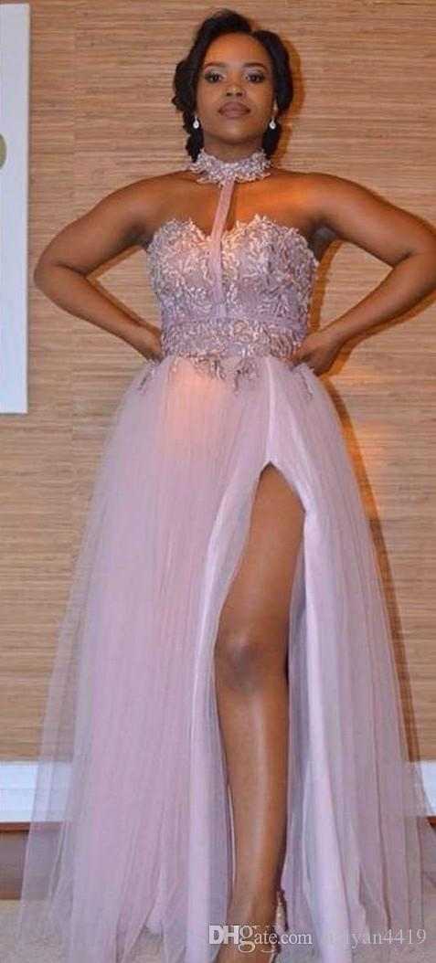 2018 New Dusty Pink Bridesmaid Dresses Lace Applique Halter Floor Length Split Tulle For Wedding Maid of Honor Gowns Prom Evening Dress