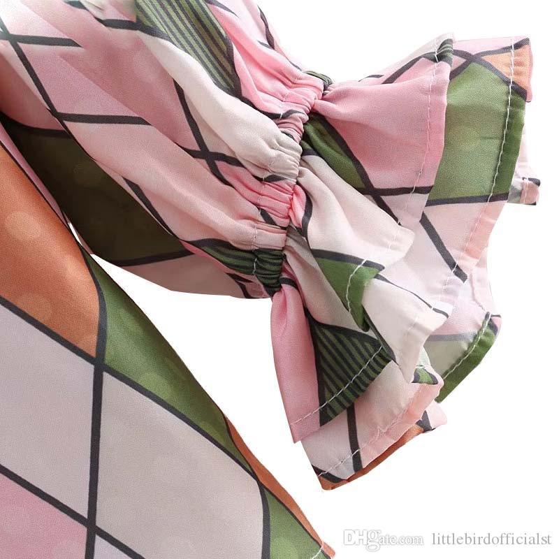 Kadınlar zarif geometrik baskı ruffled bluz ruffled yaka uzun çan kollu gömlek kadın tatlı yaz blusas tops