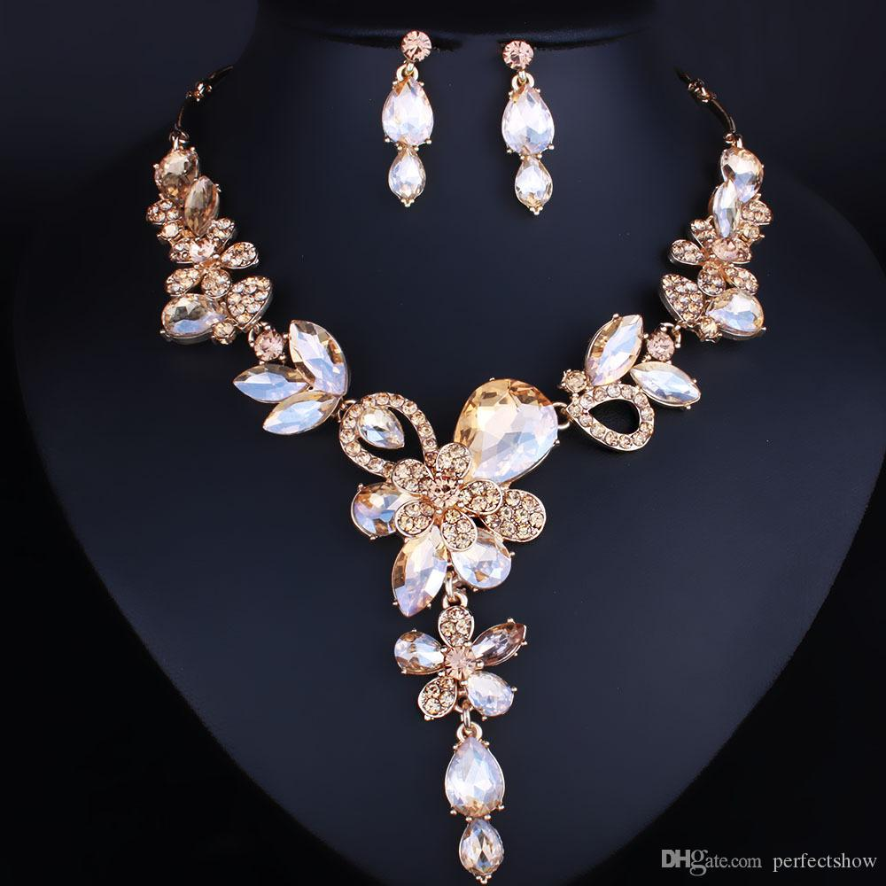 Eyecatching 2018 Wedding Accessories Rose Gold Bridal Jewelry Sets Bling  Rhinestones Jewelry For Special Occasion Necklace And Earrings Canada 2019  From ... 3b091a37f