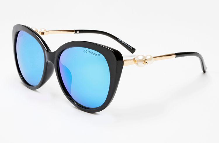 Cheap Pearls Sunglasses Brand Designer Womens New Metal Plated Cat eye Sunglasses Luxury Colorful Lens Coating glasses Gafas de sol 2039