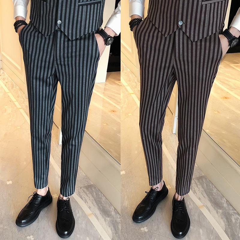 88c3a50c4f3 Spring New Men Suit Pants Slim Fashion Striped Black Coffee Business Casual  Society Men's Dress Pants Mens Formal Suit