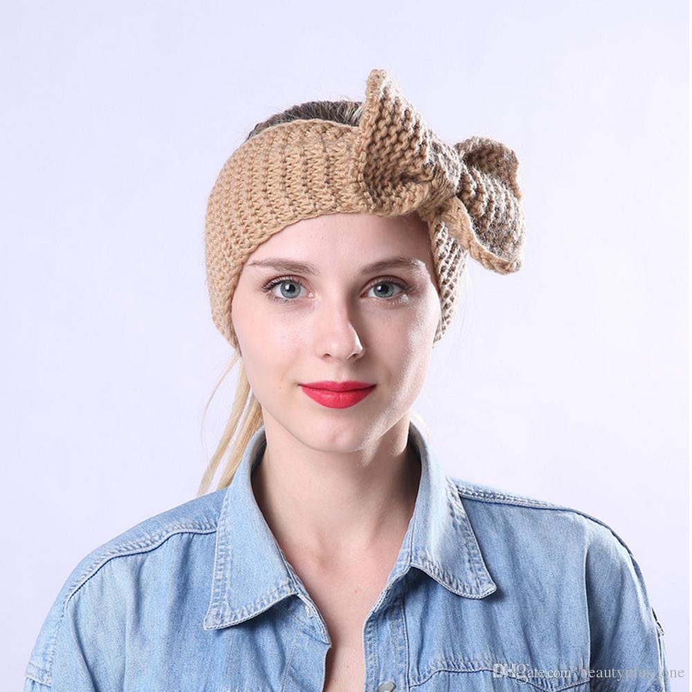 Crochet Bow Headband For Women Girls Winter Ear Warmer Knitted Turban  Hairband Wool Head Wrap Turbans Girls Hair Accessories Hair Bows For Babies  Bows For ... 404633d26904