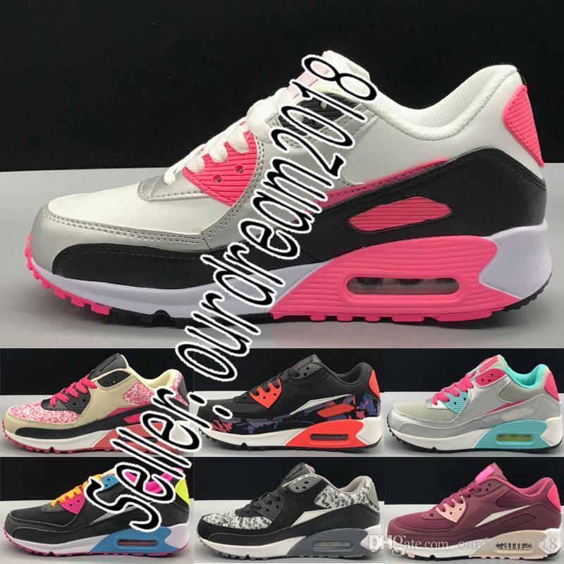 de2446588f Compre Nike Air Max Airmax 2018 Mais Novo Cor Das Mulheres Sapatilhas  Sapatos Clássico 90 Mulher Ms Senhora Casual Sapatos Preto Vermelho Branco  Respirável ...