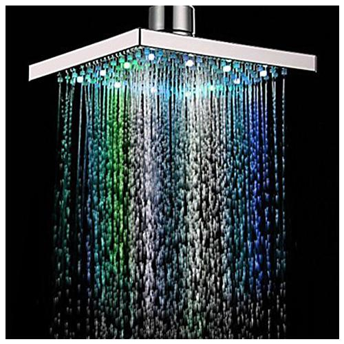 Nice 8 Inch Multi Color Changing LED Light Square Shaped Water Shower Head Shower  Faucet Nozzle Shower Heads Cheap Shower Heads Promotion!