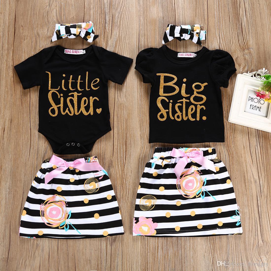 Kids Baby Girl Sister Family Matching Clothes Newborn Baby Girl Letter Romper Floral Striped Skirt Headband girls sundress Clothing