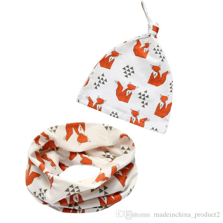Children Baby Cotton Hat Scarf Collars Girls Boys Beanie Toddler Cartoon Fox Panda Tiger Stripe Caps