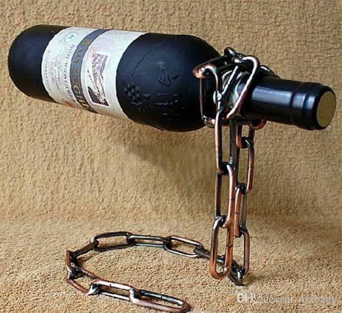 Anillo de la Cadena creativa Estante del Vino Mágico Suspendido Soporte de la Cadena del Soporte Libre de Metal Artesanía Decoración Del Hogar