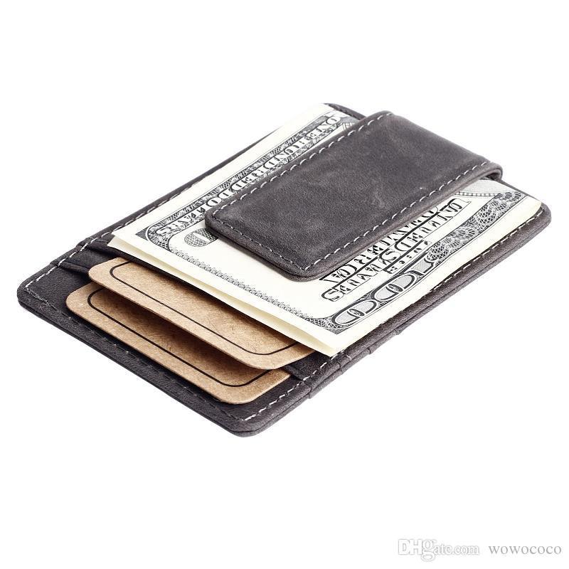 خمر حقيقية NUBUCK جلد 6 حامل بطاقة محفظة محفظة للرجال النساء رمادي اللون القهوة مع مقطع المال R022