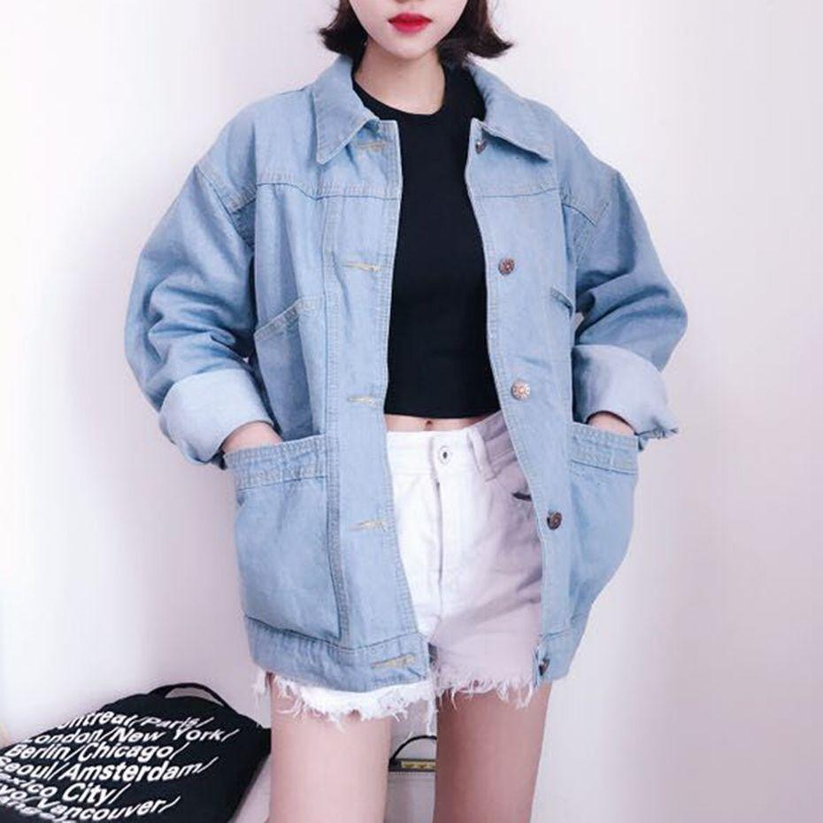 Acquista Giacca Donna In Denim Autunno Inverno Manica Lunga Blu Giacca In  Jeans Moda Casual Vintage Ragazza Oversize In Denim Cappotto Di Base  Femminile A ... 928214d1e4e