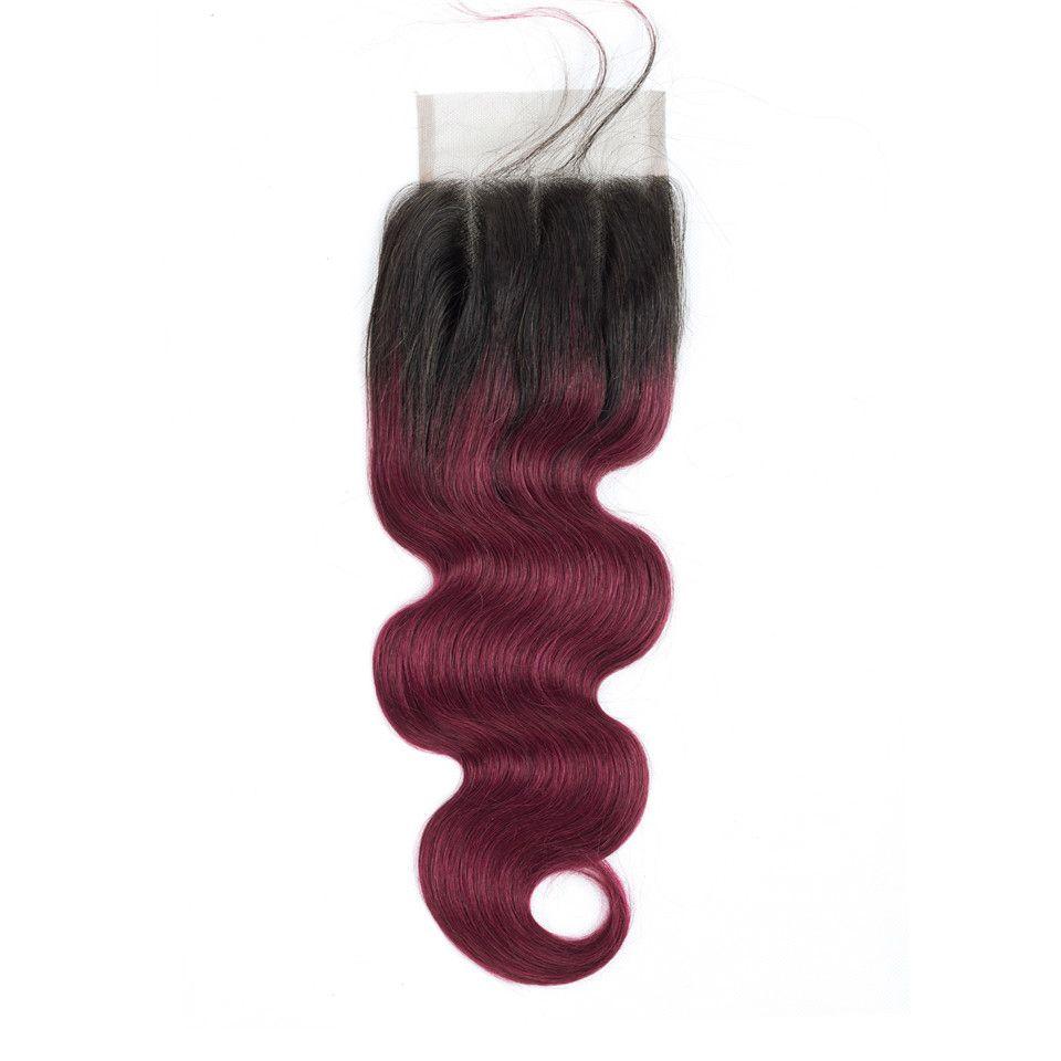 Fashion Girl Ombre Brazilian Hair 3 Bundles with Lace Closure 1b/99j Body Wave Human Hair Bundles Two Tone Ombre Brazilian Human Hair Body