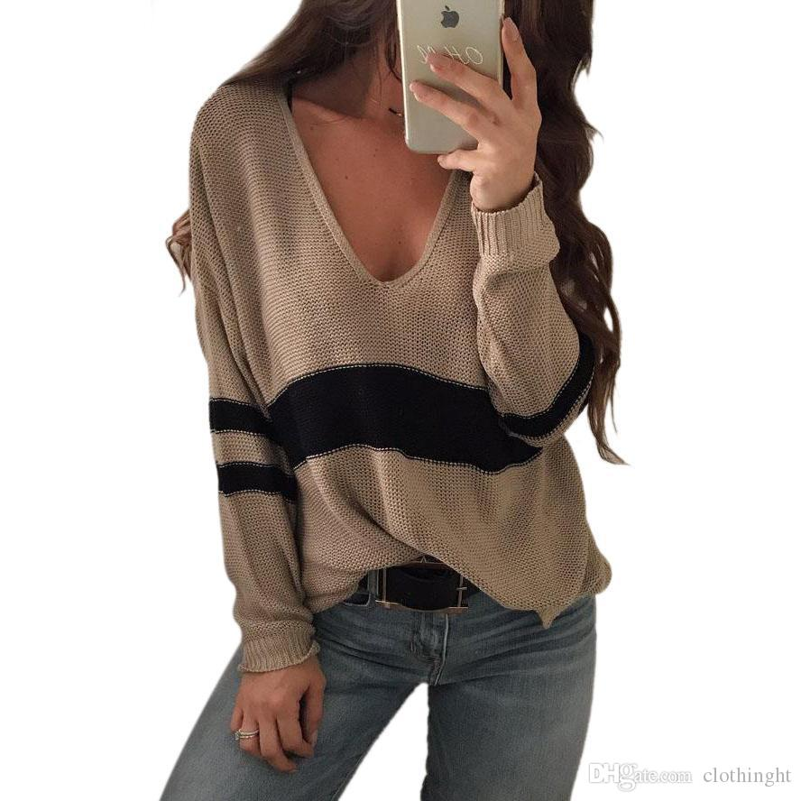9b244102a322d8 2019 WOTWOY Autumn Winter Sweater Women Contrast Color Casual Pullovers  Women Long Sleeve V Neck Knitted Tops Women Jumper Femme Soft From  Clothinght