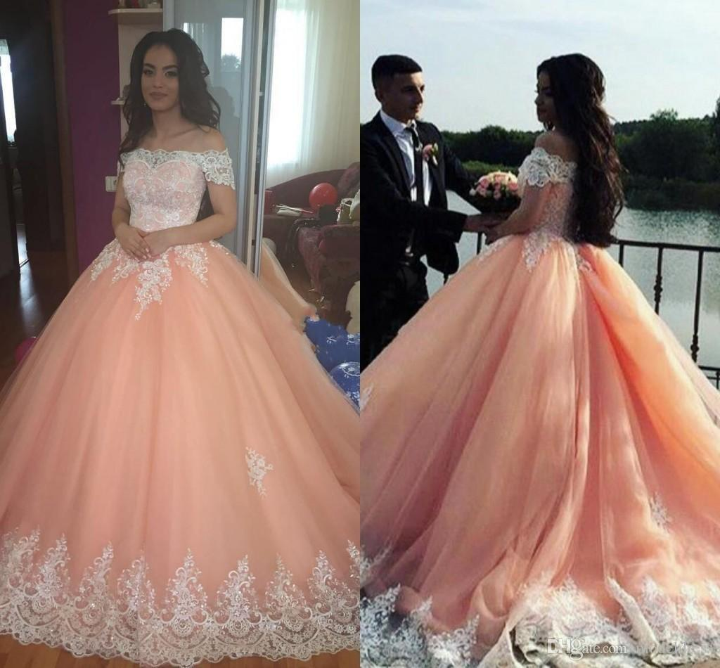 2018 New Peach Quinceanera Dresses Off Shoulder Appliques Ball Gown Sweep  Train Sweet 16 Dresses Prom Party Vestidos De 15 Anos Gowns Custom  Quinceanera ... aa1a7f0b01c5