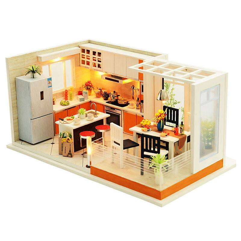 Modern Kitchens Handmade Dollhouse Furniture Miniature Diy Dollhouse