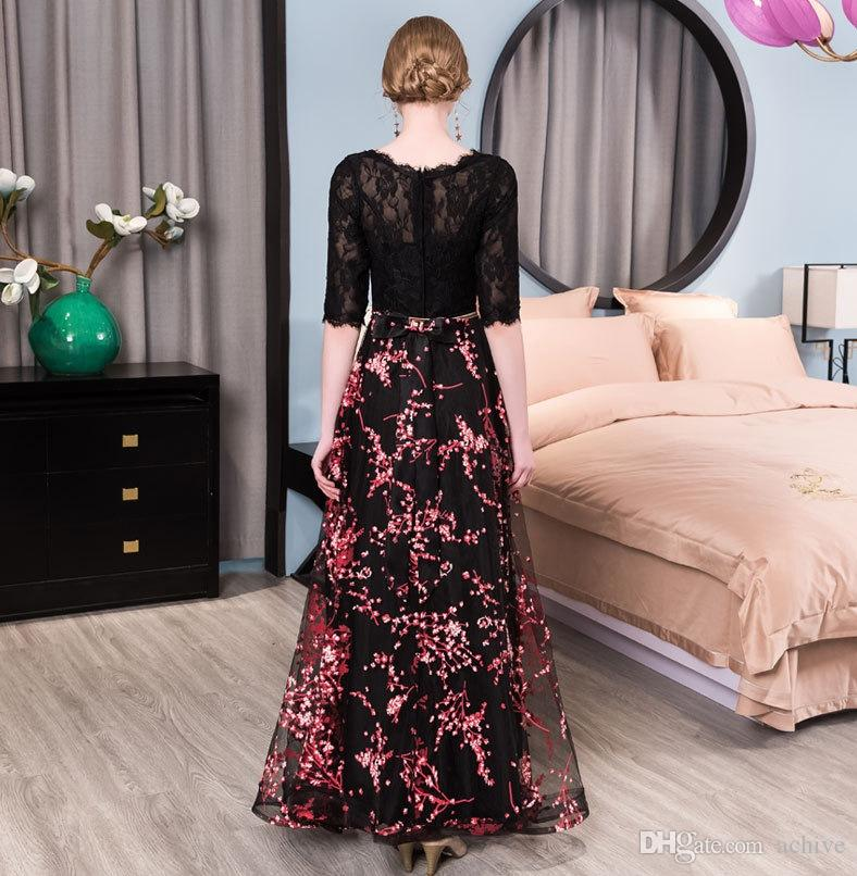 Kadınlar Biçimsel törenlerinde 2020 Mezuniyet Elbise için Moda Siyah Dantel Baskılı Gelinlik Modelleri Uzun Abiye Giyim Ucuz Bow ile Kollu Parti Elbise