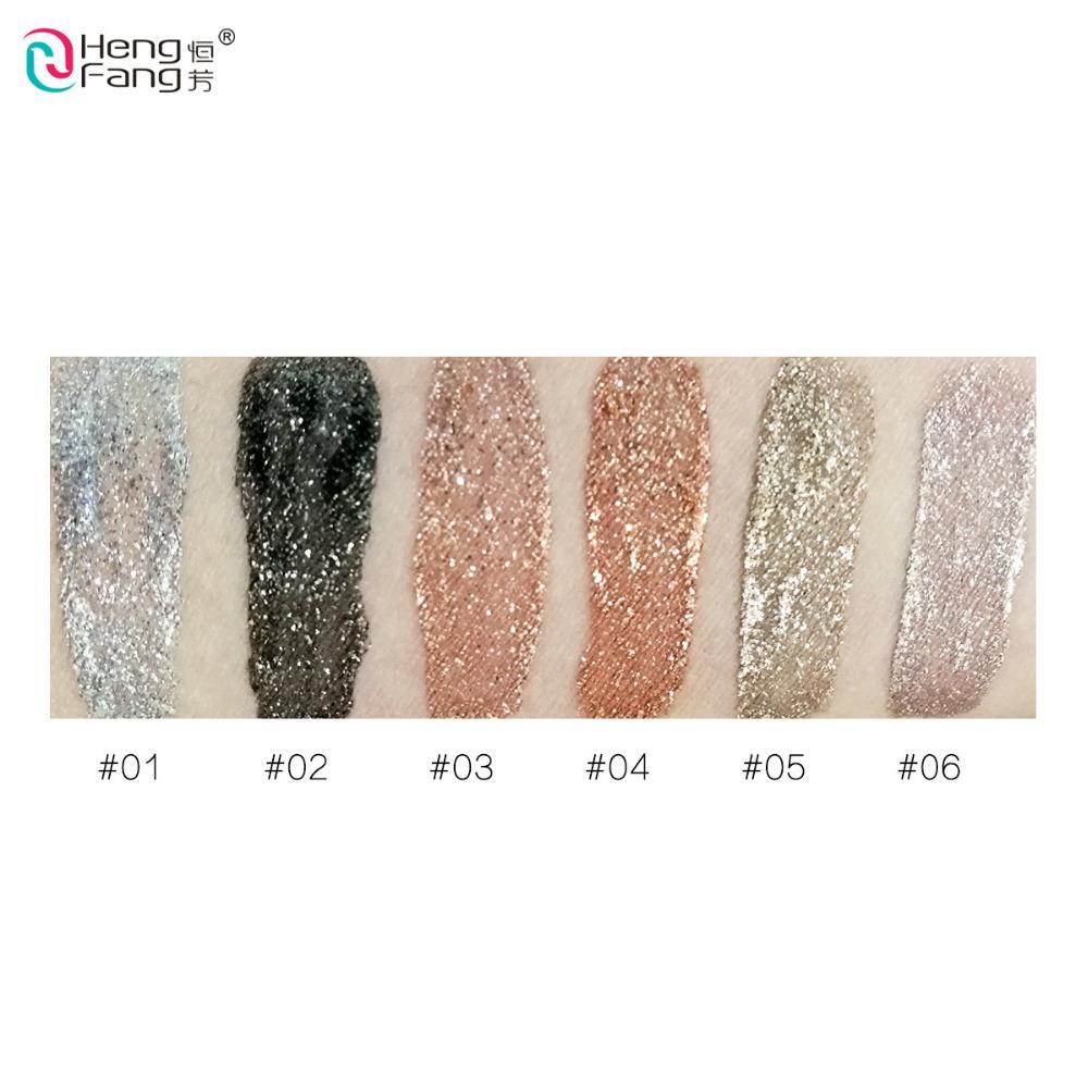 6 цветов / лот Hengfang металлические Жидкие тени для век блеск тени для век жидкий мерцание палка красоты инструмент Корея косметический подарок для девушки бесплатная доставка