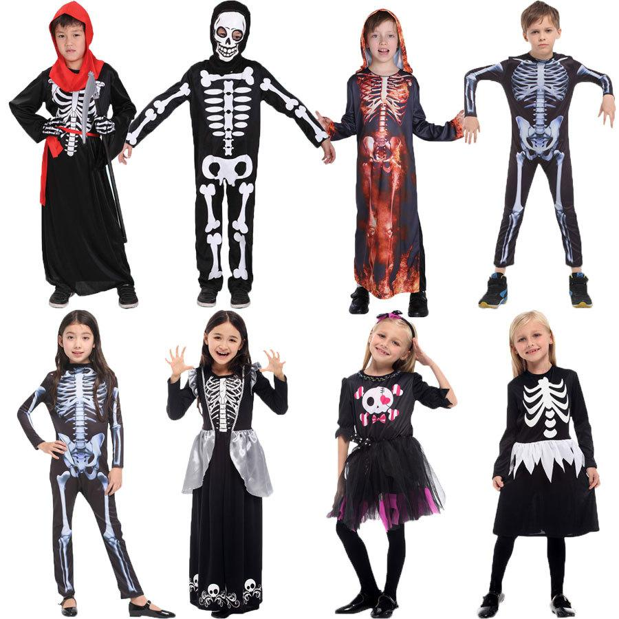 halloween children's day party skeleton costumes kids skull skeleton