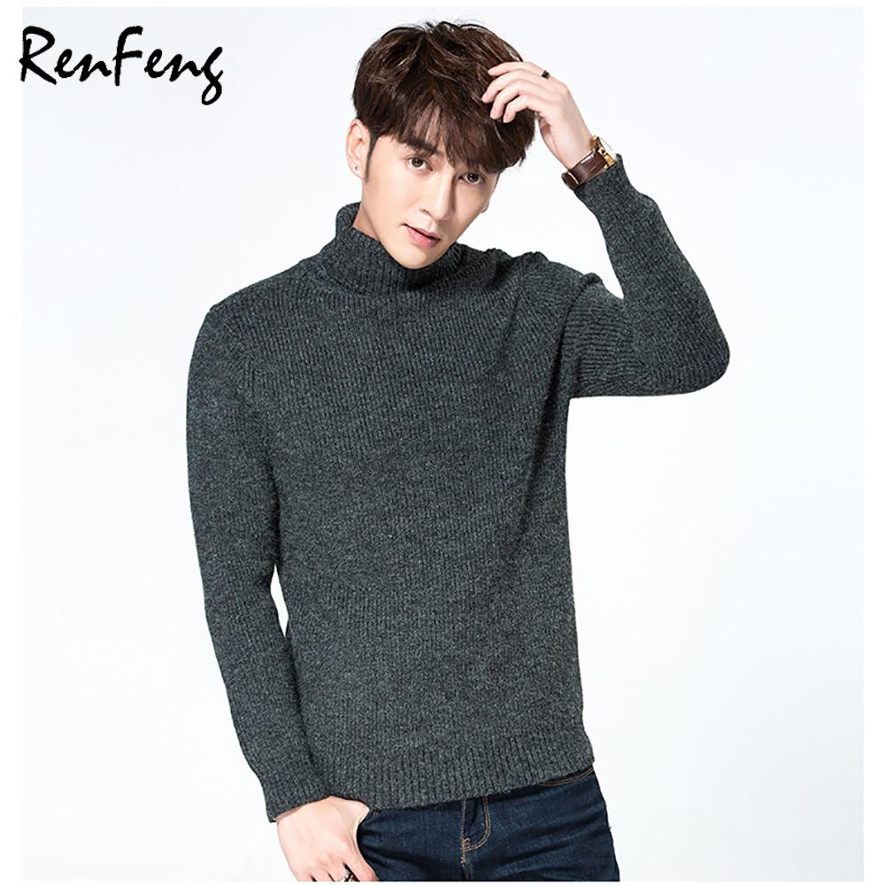 c345dc0a0b 2019 2018 Fall Winter Thick Warm Sweater Men Turtleneck Brand Mens Sweaters  Slim Fit Pullover Men Knitwear Double Collar Pull Homme From Sllxgone