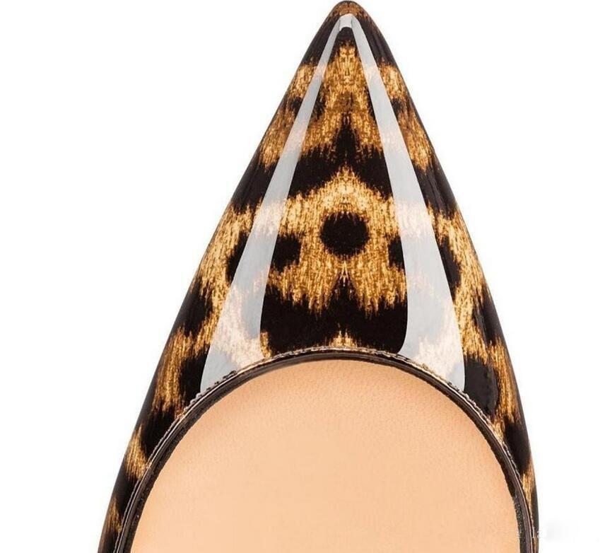 Top Quality 8/10 / 12cm Donne Pompe New Fashion Leopard Colore Rosso Bottom scarpe a punta tacco alto Scarpe da sposa Ultra sottile tacco alto scatola e borsa