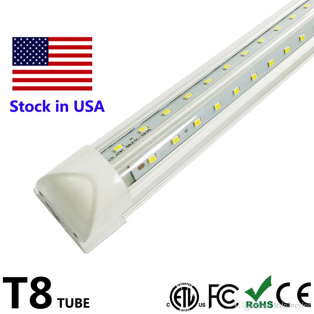 Integrated t8 fluorescent lamp 4ft 5ft 6ft 8ft 8 feet led tube light v shape led light fixtures ac85 277v