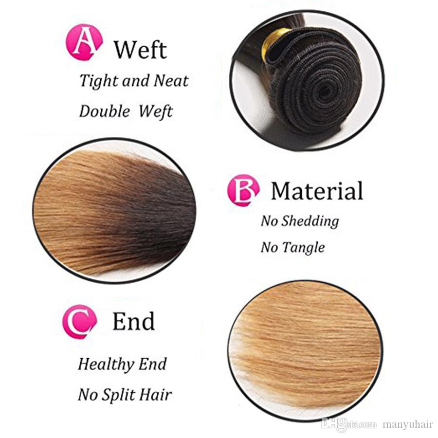 Extensiones brasileñas malasias peruanas del pelo humano de la Virgen del pelo de la Virgen peruana 2 Tone 1B / 27 # 8A Blonde Ombre Pelo liso sedoso 3 paquetes
