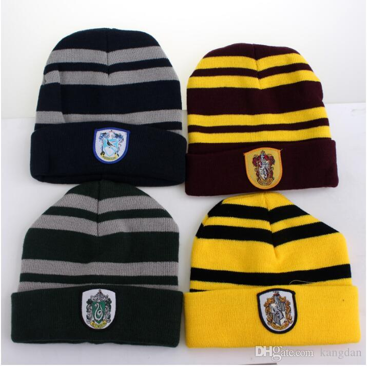 7e0b41f1d41 2019 Harry Potter Hogwarts Beanie Hat Halloween Cosplay Gryffindor  Slytherin Hufflepuff Ravenclaw Cap Warm Knit Yarn Hats Festival Festival  Prop From ...