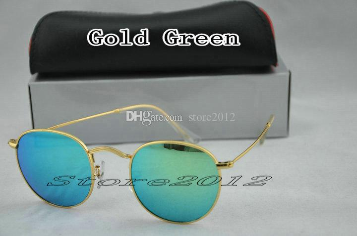 Hot sell New Fashion Round Sunglasses Designer Brand Sun Glasses Gold Metal Green Mirror 50mm Glass Lenses For Men Women With Box Case