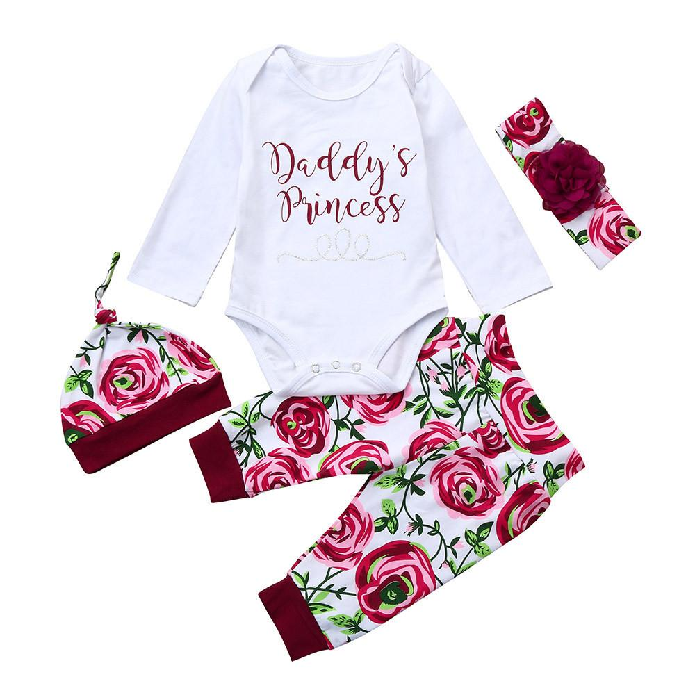 6d5382fd3 Newborn Girls Clothes Sets Infant Baby daddy's Princess Letter Romper Tops+Floral  Pants Hat Outfits Meisjes Kleding @Y119
