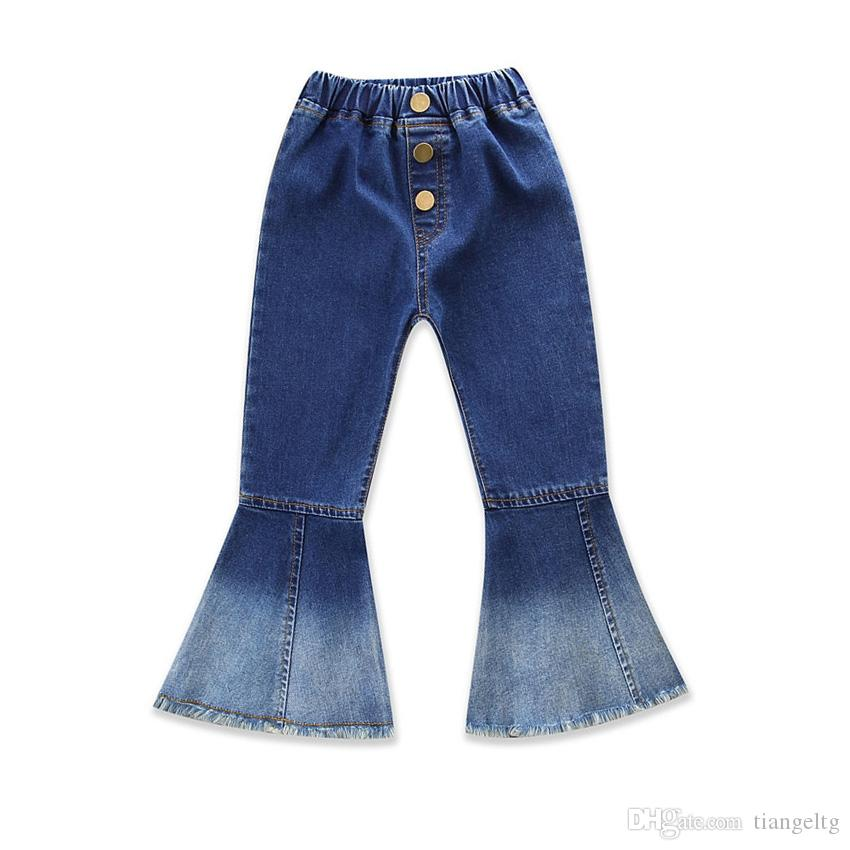 708a5a7e10df Baby Boot Cut Jeans Soft Navy White Denim Patchwork Wash Brush ...
