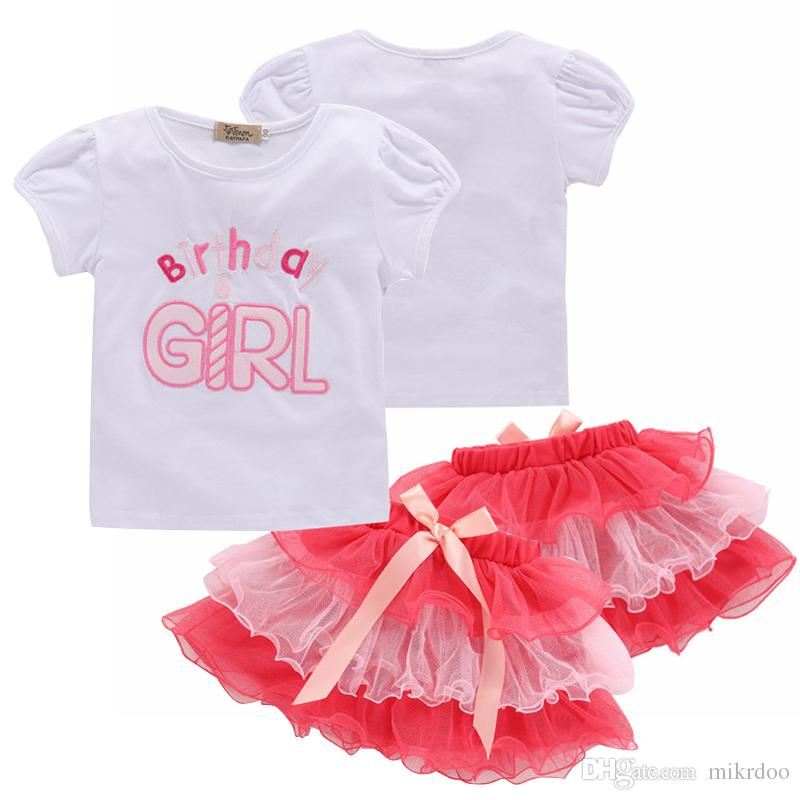 34d1f2542abad5 2019 Mikrdoo Kids Baby Girl Sweet Clothes Set Short Sleeve Birthday Girl  Letter Print Ruffle T Shirt Top + Tutu Tulle Skirt Outfit From Mikrdoo
