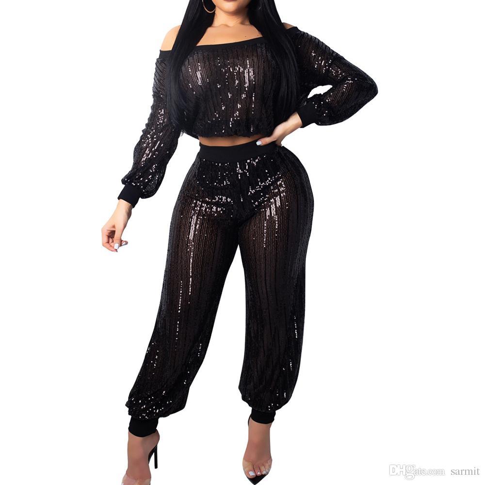 78e0637b1390 Sexy CHEAP Set Outfits Sequins Women Fall Pants Sets Ensemble Femme F0637  Black Off Shoulder Winter Coats Denim Jacket From Sarmit, $24.83| DHgate.Com