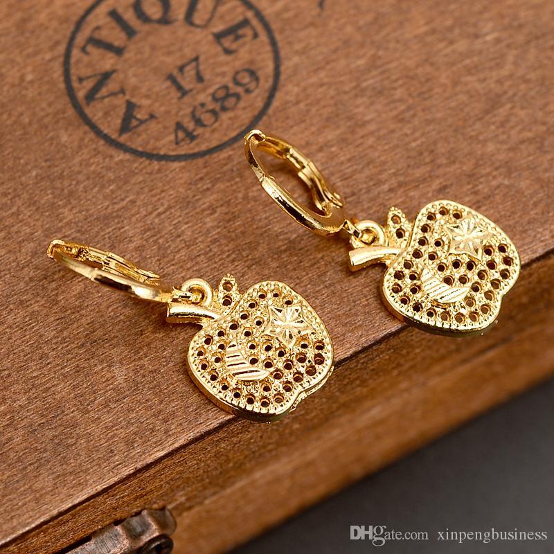 الولايات المتحدة الأمريكية تيار تيار الحلو أبل أقراط النساء الفتيات 24K غرامة الذهب الأصفر معبأ حلق مجوهرات هدايا اندونيسيا الكونغو