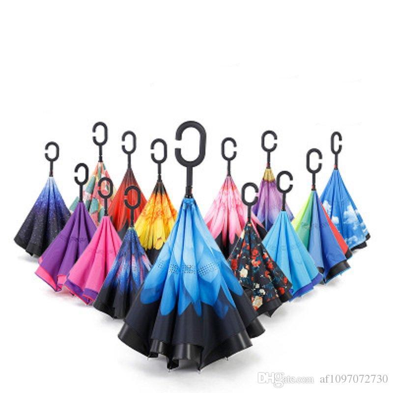 486b32b131493 2019 Windproof Reverse Umbrella New Design Double Layer Inverted Umbrellas  C Handle Umbrellas For Car Printable Customer Logo RE5645 From  Af1097072730